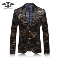 Blazer Men Men Leopard Print Blazer Casual Gold Blazers Stage Costumes For Singers Vintage Prom Suits