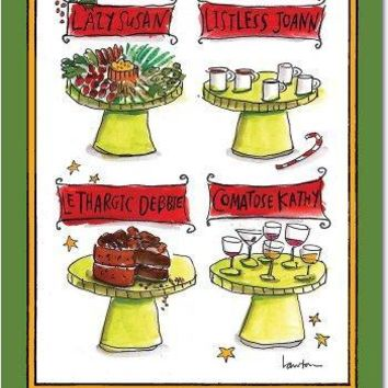 12 Lazy Susan Unique Humor Christmas Greeting Cards with Envelopes