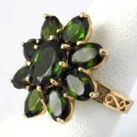 ON SALE Ring 14kt Gold Chrome Green Tourmaline 9 Stone Flower 1970s Engagement