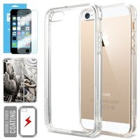 iPhone 5S Case, Spigen® [Ultra Hybrid] +Screen Shield [Crystal Clear] Air Cushioned Bumper Case with Scratch-Resistant Clear Back Panel for iPhone 5S / 5 - Crystal Clear (SGP10640)