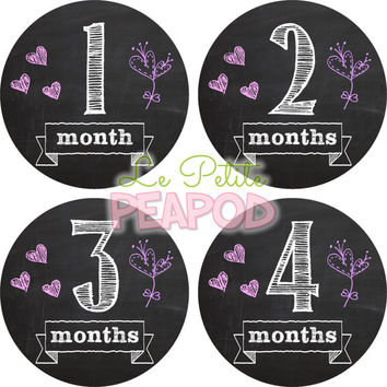 Monthy Baby Shirt Stickers - Cute Pink and Purple Chalkboard Design - Girl Monthly Baby Stickers