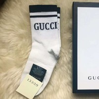 Gucci Fashion Stripe Embroidery Socks Stockings