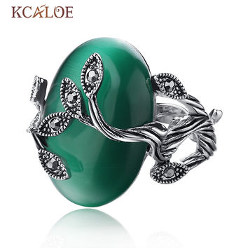 Vintage Green Ring Oval Natural Agate Stone Rings For Women Retro Anillo Carved Luxury Crystal Rhinestone Bague Leaf Ring