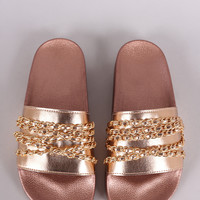 Embellished Chain Open Toe Slide Sandal | UrbanOG