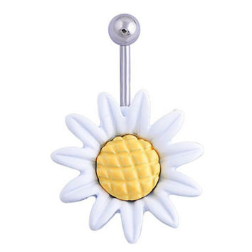 Shining Sunflower Flower Bar Belly Button Barbell Ring Navel Piercing Women Body Jewelry 2 Colors White Yllow SM6