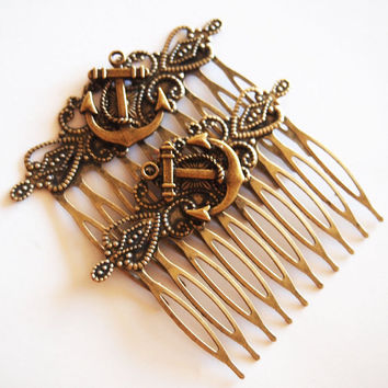 Anchor Antique Brass Hair Combs Nautical Rockabilly by glamasaurus