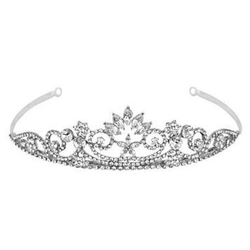 Crystal Navette Flower Swirl Tiara at debenhams.com