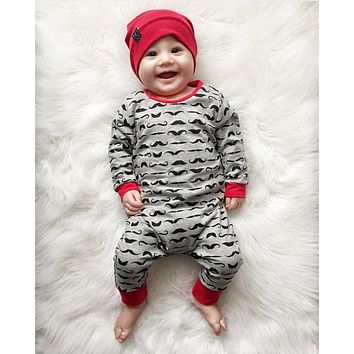 Baby Rompers Children Autumn Clothing Newborn Baby Clothes Cotton Long Sleeve Mustache Printed Baby Boy Jumpsuit
