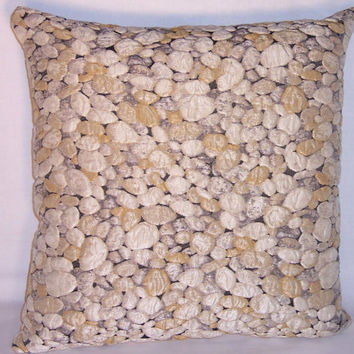"Rock Pebble Throw Pillow - Trompe l'oeil Cover and Insert 17"" Square Cushion  Textured Matelasse  Natural Gravel"