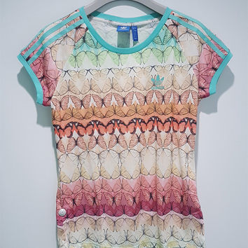 Adidas Originals Women Fashion Butterfly Print T-shirt