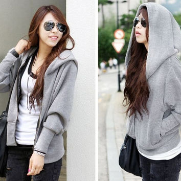 Korean Stype Long-sleeved Sweater Hoodie Bat Loose Sports Jacket tide = 1931725188