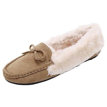 Faux Fur Moccasin Slipper Women Slip On Suede Winter Fluffy Driving Loafers By Dear Time