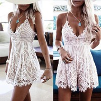 DCCKKFQ 1pcs 2017 Sexy Lace Shorts Women Summer Hollow Out Shorts Womens Shorts Body Overalls Feminino Shorts Plus Size