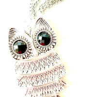 Vintage Looking Owl Statement Charm with Black Diamond Studded Eyes on a Silver Chain Necklace
