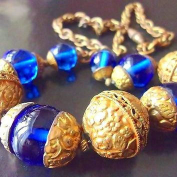 Czech Cobalt Blue Glass Bead Necklace Brass Filigree Beads Vintage