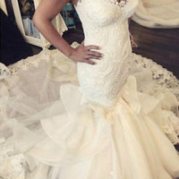 Spaghetti Straps Lace Mermaid Wedding Dress with Ruffles Size  2 4 6 8 10 12 14