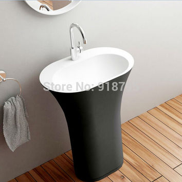 Corian Bathroom Pedestal Wash Basin standing Solid Surface Matt Hand Sink Cloakroom Exterior Black Vanity Wash Sink Rs3824