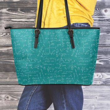 Math Teacher Large Leather Tote Bag