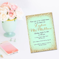 Printable Mint and Gold Glitter bridal shower Invitation/mint bridal shower invitation/mint to be shower/printable invitation