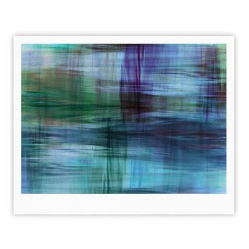 """Ebi Emporium """"COLOR BLUR, TURQUOISE BLUE"""" Blue Green Abstract Modern Watercolor Mixed Media Fine Art Gallery Print"""