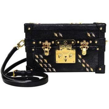 ONETOW Louis Vuitton Black Lizard Studded Petite Malle Crossbody Bag with Box