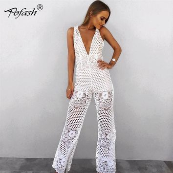 Floral Sheer Lace Jumpsuit