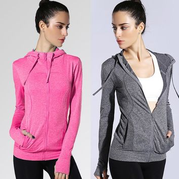 Women Yoga Sport Pocket Stretchy Workout Dri-Fit Hooded Outdoor Jacket Coat