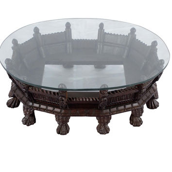Handmade Oval Palkhi Coffee Table -  Hand polished dark wood finish
