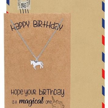 Emy Birthday Unicorn Necklace for Women, Animal Pendant with Greeting card