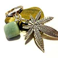 Pot Leaf Keychain, Marijuana Key Ring, Weed Accessories, Cool Car Accessory, Turquoise Key Ring, Wire Wrapped Turquoise Stone