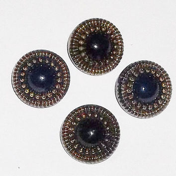 Victorian Black Glass Buttons w Gold, set of 4