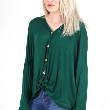 Solid Button Down + Knot Front Long Sleeve {Hunter Green}