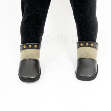 "Ankle Boots for American Girl Dolls ""Maisie"" Brown Beige, Faux Leather, Suede Boots"