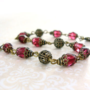 Fuchsia Vintage Style Bracelet - Antique Brass Filigree Czech Glass Beaded Bracelet Bridesmaid Gift Dark Pink Burgundy Cranberry Jewelry
