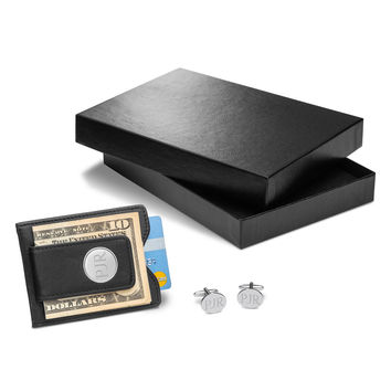 Personalized Black Leather Wallet & Modern Oval Cufflinks Gift Set