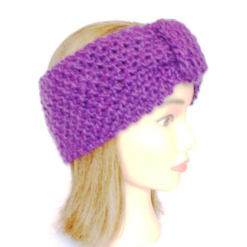 Irish handknit dark purple earwarmer headband wool women knitted teenager skiing holiday winter fall chunky knit woman warm accessory