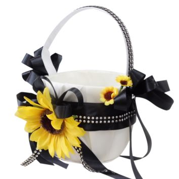 Wedding Flower Girl Basket-Silver Black Sunflower