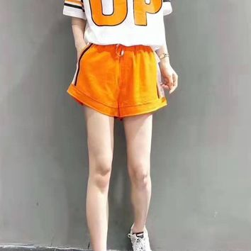 Woman's Leisure  Fashion Letter Printing Spell Color Loose Short Sleeve  Shorts Two-Piece Set Casual Wear