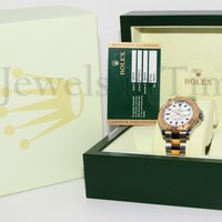 Rolex Yacht-Master 18k Yellow Gold/Steel White Dial Mens Watch Box/Papers 16623