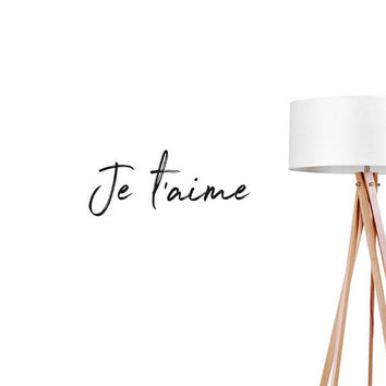 Je t'aime Wall Decal, Fashion Chic Decal, Office Wall Decal, French Quote Decal, Typography Wall Sticker, Bedroom Art, Bedroom Wall Decal