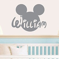 Wall Decals Name Boys Girls Vinyl Sticker Personalized Custom Decal Monogram Art Home Decor Murals Disney Head Mice Ears Mickey Mouse Wall Decals Nursery for Kids Room Baby Bedroom AN341