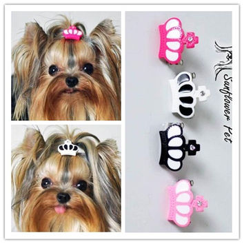 Cute Resin Crown Clip for Dog Bows for Grooming