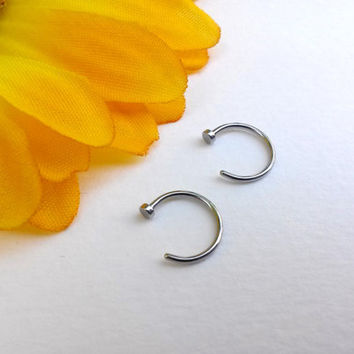 "20g Nose Ring Nose Hoop 5/16"" Steel thin nose ring"