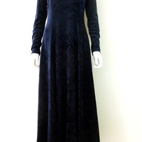 Vintage Crushed Velvet Maxi Dress Dark Blue Long Sleeve Full Length Dress Scoop Neck Medium