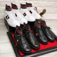 GUCCI Men Fashion Leather high-top boots Casual Retro Sneakers Shoes 2019 Best Quality