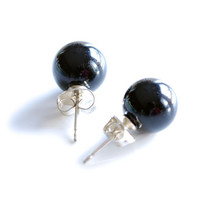 Minimalist black onyx ball studs or post earrings with solid sterling silver backs , 8 mm round half drilled gemstone ball earrings