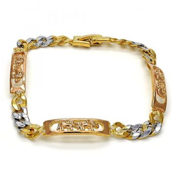 Gold Layered 03.102.0027.08 Fancy Bracelet, Elephant Design, Polished Finish, Tri Tone