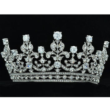 Crystals Silver Flower Big Tiara Crown Headbands Wedding Bridal Hair Jewelry Accessories with CZ 17363R