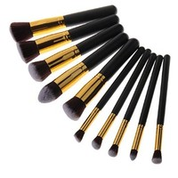 Unimeix 10 pcs Premium Synthetic Kabuki Makeup Brush Set Cosmetics Foundation Blending Blush Eyeliner Face Powder Brush Makeup Brush Kit (Black Golden)