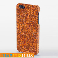 Carved Wood Print iPhone 4/4S, 5/5S, 5C Series Full Wrap Case
